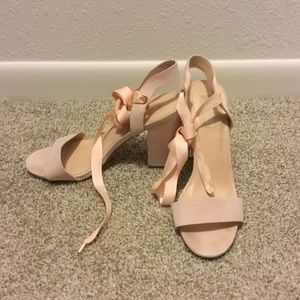 Pink Box Heels with Ballet Ribbon Ankle Strap